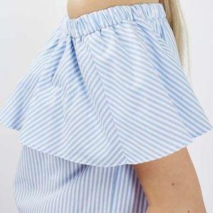 Stripe Penny Bardot Top (Topshop)